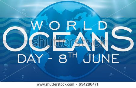Underwater view for World Oceans Day with an Earth planet silhouette, reminder date in label, bubbles and sunbeams.