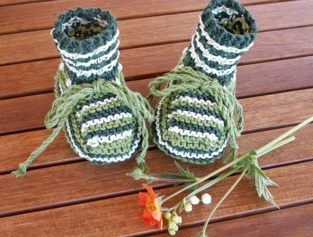 Strick- & Häkelschuhe - Süße Babyschuhe Grün Baumwolle - ein Designerstück von gUTEs bei DaWanda