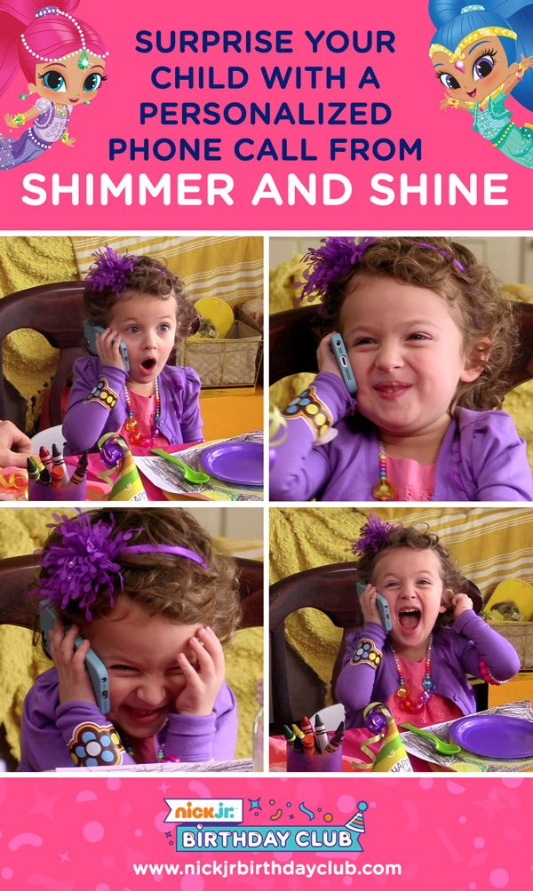 Planning a Shimmer and Shine birthday party for your preschooler? Schedule a personalized phone call from twin genies Shimmer and Shine with the Nick Jr. Birthday Club to surprise and delight your little one. Then, get kids birthday party planning tips, printable party supplies, and much more. It's sure to be a shimmering, shining birthday!