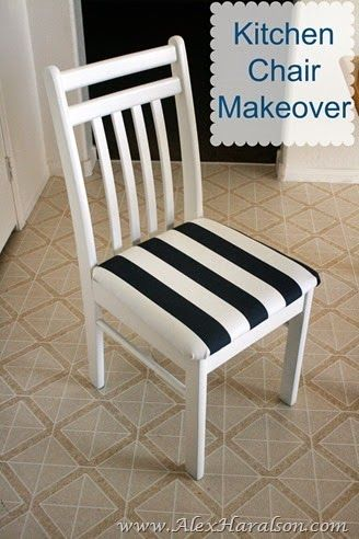 Kitchen Chair Redo. Makeover dirty dingy kitchen chairs and make them like new! http://www.alexharalson.com/2014/07/kitchen-chair-makeover.html
