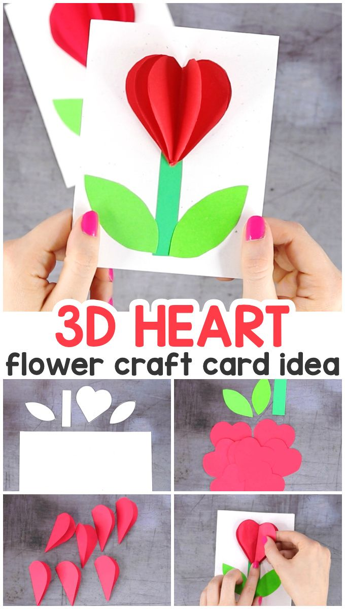 3d Heart Flower Card With Flower Template Valentines And