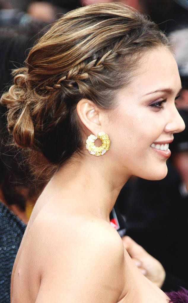 Jessica Alba updo hairstyles at Oscars ...