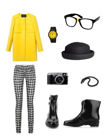 This bold yellow statement jacket and jazzy jeans will help you brave any  weather when paired
