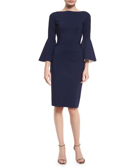 Bell-Sleeve Midi Cocktail Dress, Navy