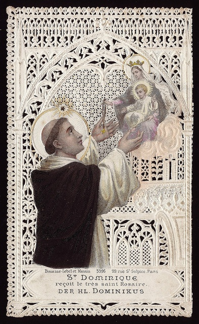 St. Dominic receives the Holy Rosary