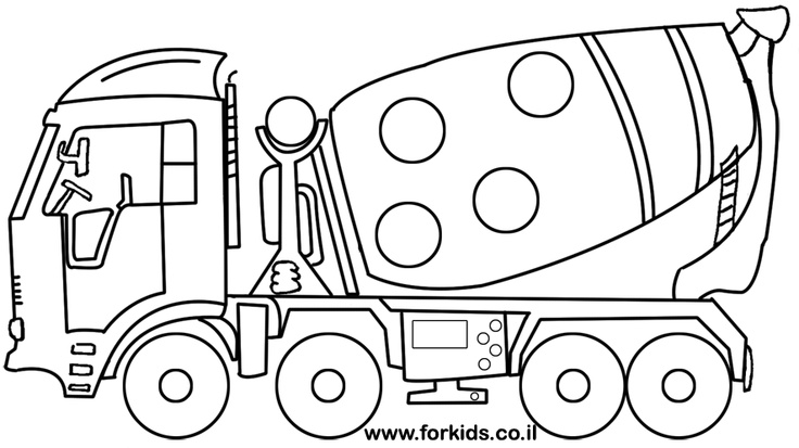 Concrete truck coloring page | www.Forkids.co.il Coloring ...