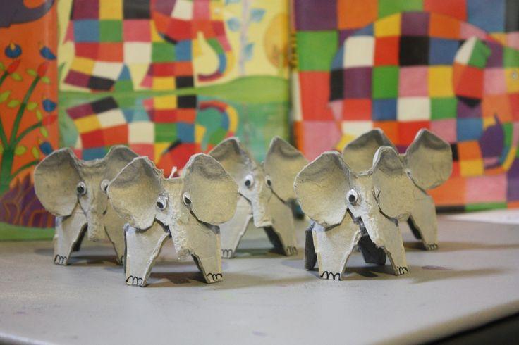 Elmer the Elephant made of egg cartons