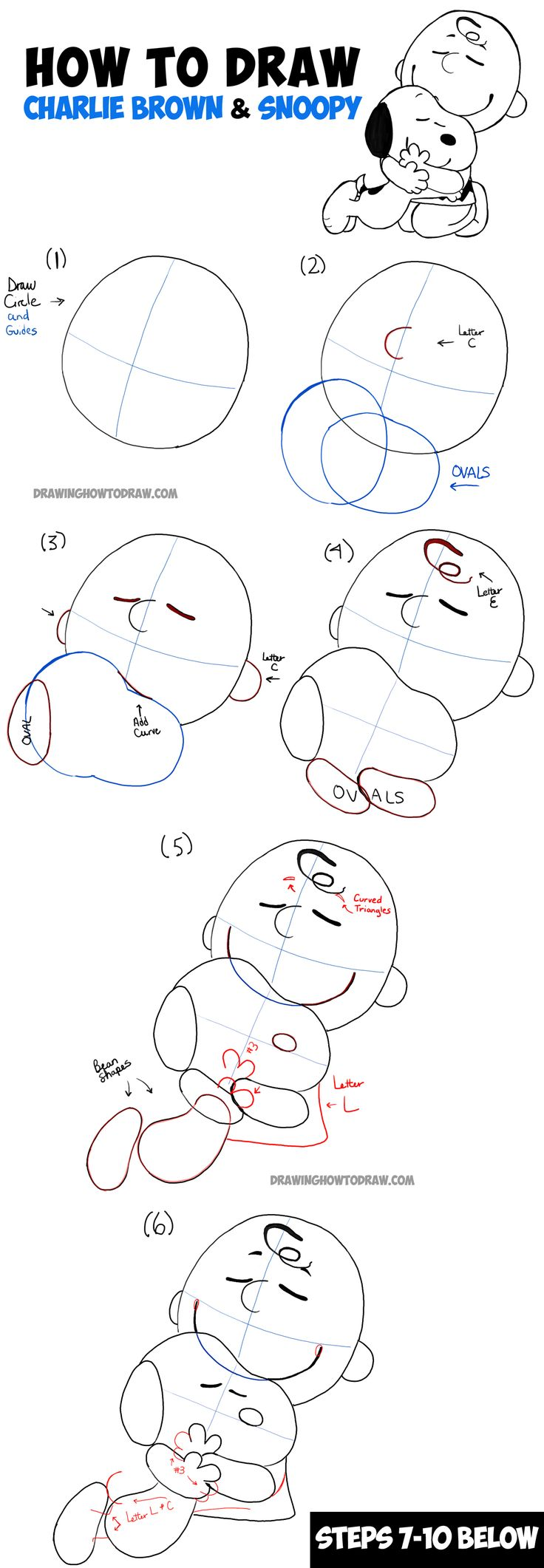 How to Draw Snoopy and Charlie Brown from The Peanuts Movie Step by Step Drawing Tutorial