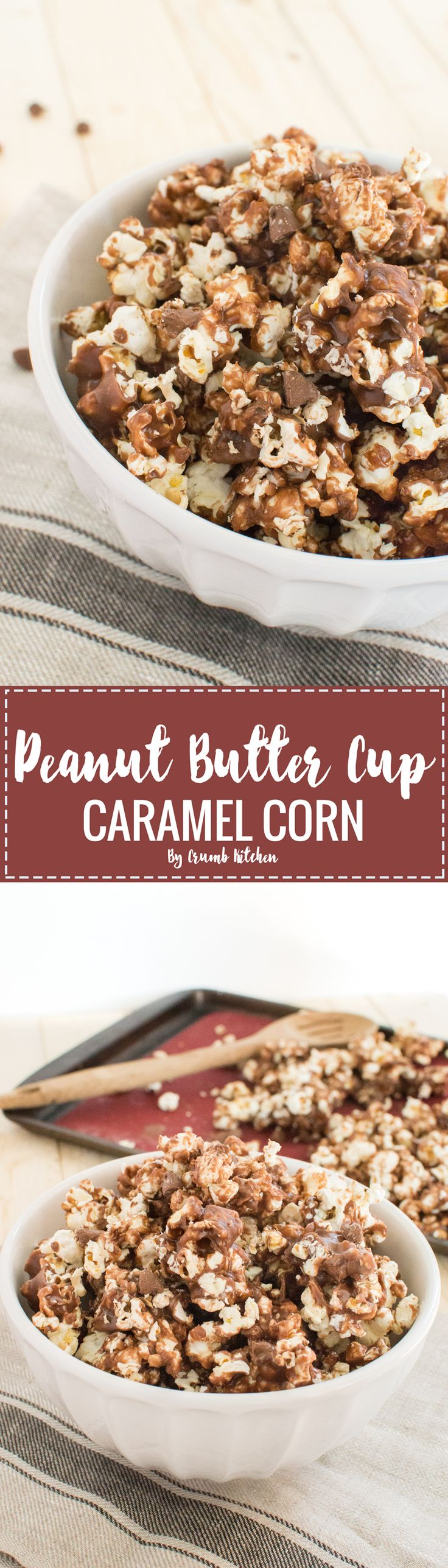 Melted chocolate peanut butter spread and a delicious caramel sauce coats this flavourful Peanut Butter Cup Caramel Corn. | Crumb Kitchen