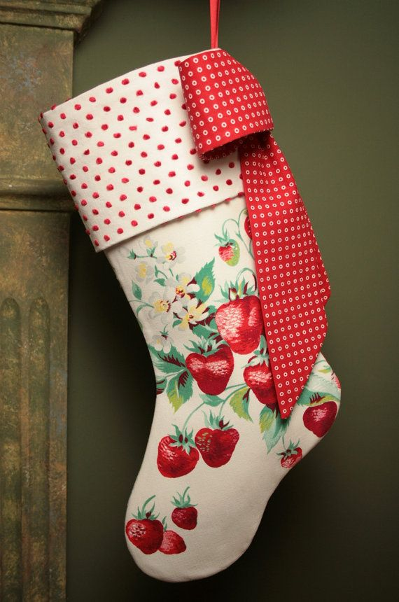 Luscious Strawberries Vintage Tablecloth and Chenille Christmas Stocking
