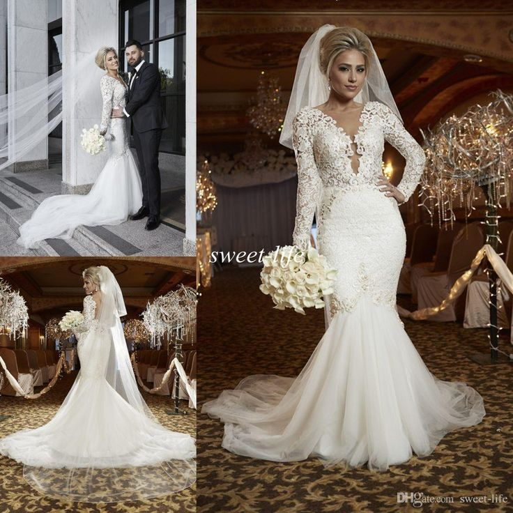 Free Shipping 14016 Piecebuy Wholesale 2016 Spring Berta Sexy Plus Size Lace Mermaid Wedding GownsLace