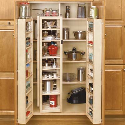 Rev-A-Shelf Pantry Kits to help you maximize kitchen storage= awesome (Photo: Courtesy Rev-A-Shelf): Kitchens Spaces, Idea, Revashelf, Spices Racks, Pantries Kits, Kitchens Pantries, Kitchens Cabinets, Kitchens Storage, Pantries Storage