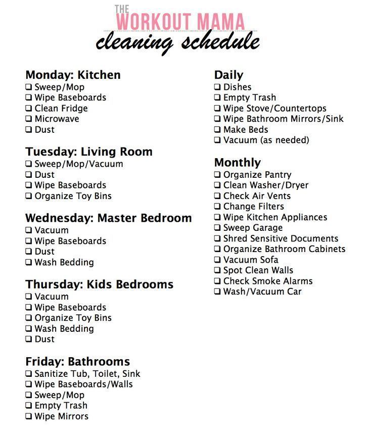 Daily Weekly Monthly Cleaning Schedule The Workout Mama