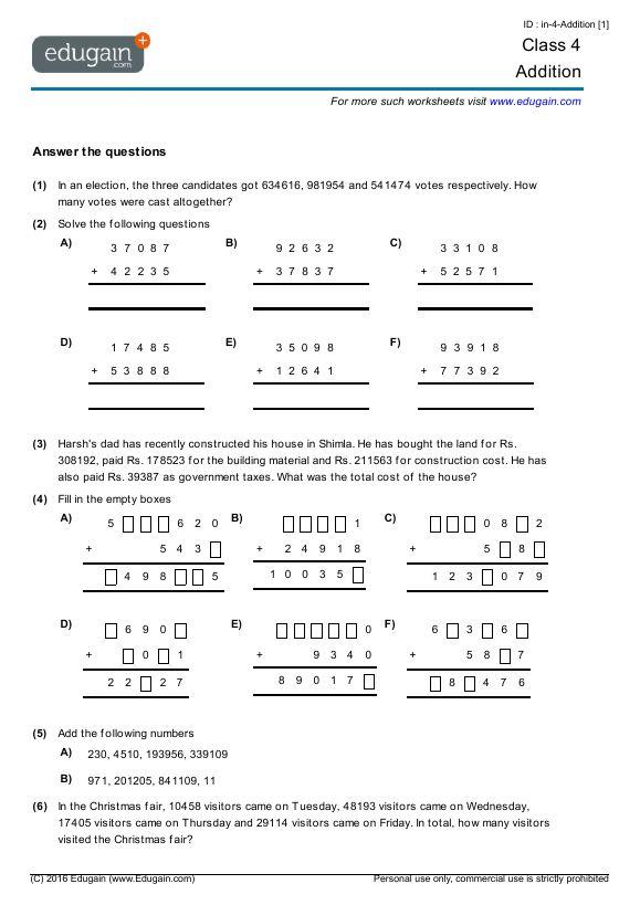 Maths Worksheet For Class 4 Math Worksheet, Mathematics Worksheets, Math  Worksheets