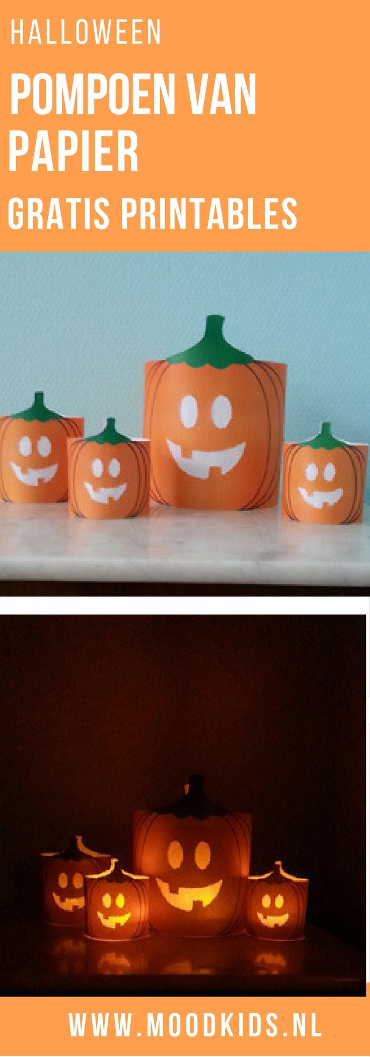 Halloween vraagt om een verlichte pompoen. Die kun je snijden uit een echte of je maakt deze pompoen van papier. Met deze gratis printables leuk om te doen!