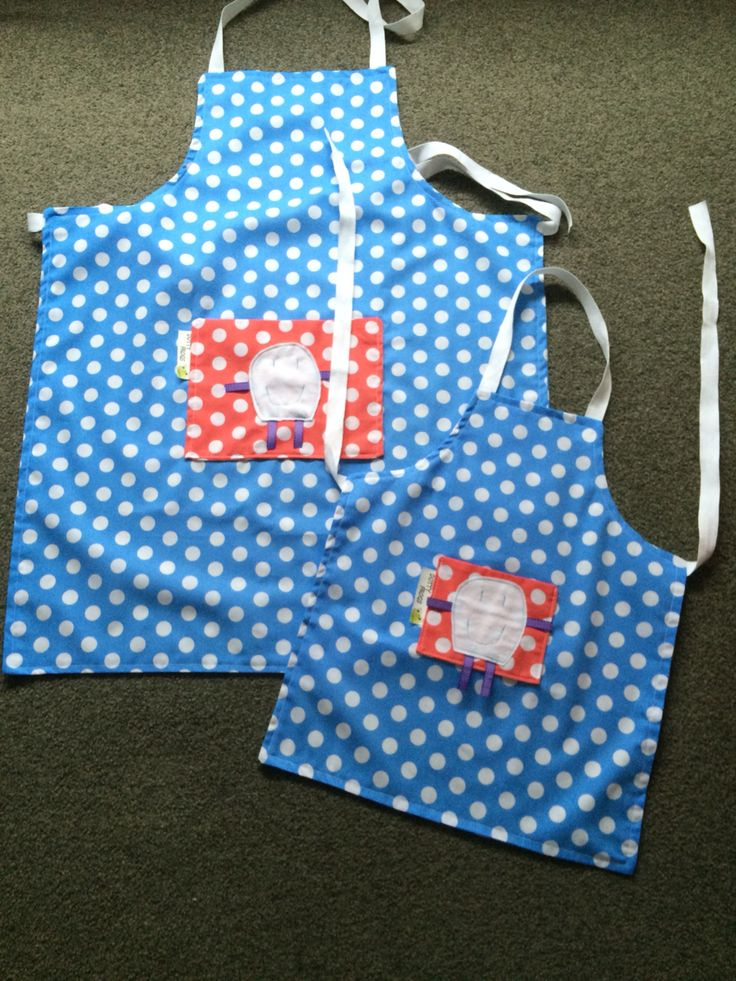 Matching kids and adult aprons, handmade by Mell.