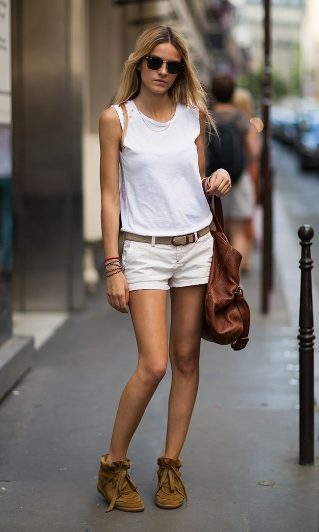 Chic White Outfit White tank and Shorts - DesignerzCentral