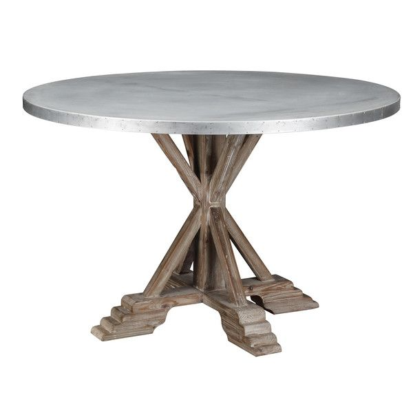 Zinc top wooden dining table.  Restoration Hardware style furniture for less!