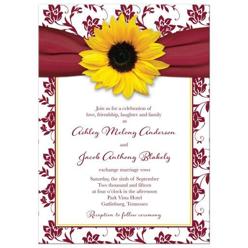 Burgundy and yellow sunflower floral and ribbon fall or autumn wedding invitation