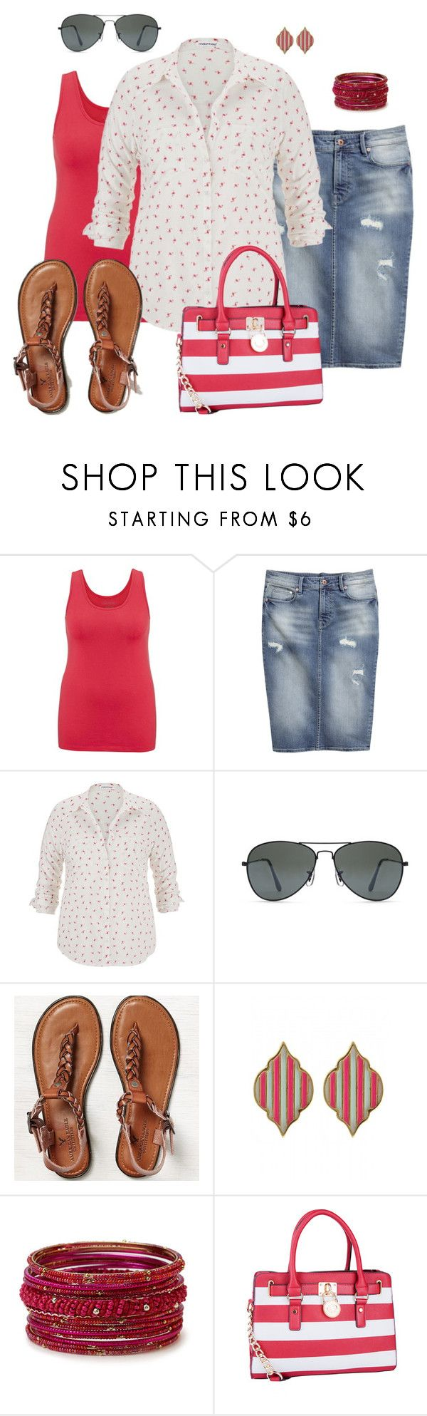 """""""Flamingo Top- Plus Size Outfit"""" by boswell0617 ❤ liked on Polyvore featuring maurices, H&M, Forever 21, American Eagle Outfitters, Fornash and MKF Collection"""