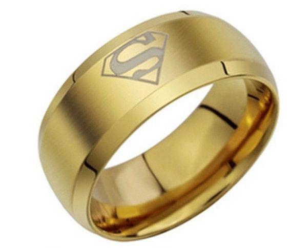 Gold Superhero Ring - Superhero Ring - Men's Ring - Ring for Men - Stainless Steel Ring - Superhero Jewelry - Wedding band - Hero Ring