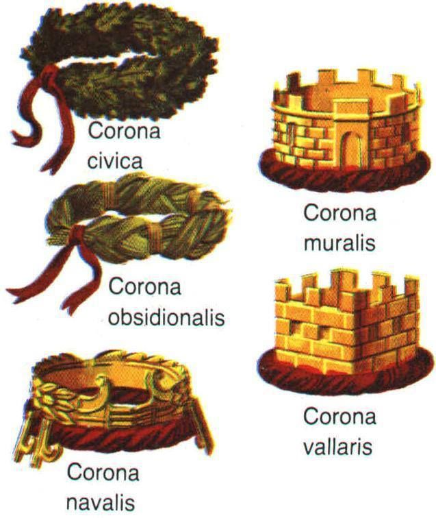 Illustration of the five Roman crowns awarded to military personnel during the Republican period and early Roman empire: Civica, Muralis, Graminea or Obsidionalis, Vallaris and Navalis. See below for full explanation of each.