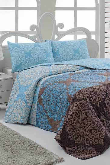 Türkiz kétszemélyes steppelt ágytakaró szett