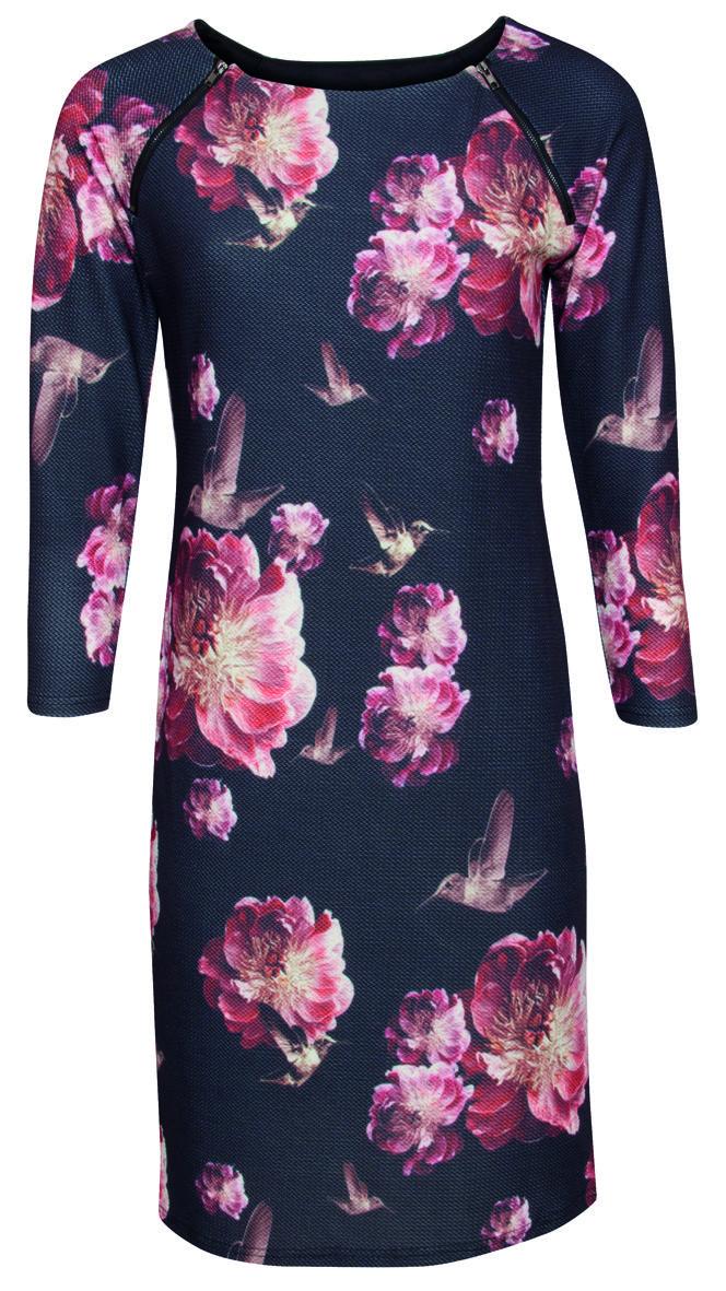 Jurk SMASHED LEMON rode bloem en vogels | Queen Yelien