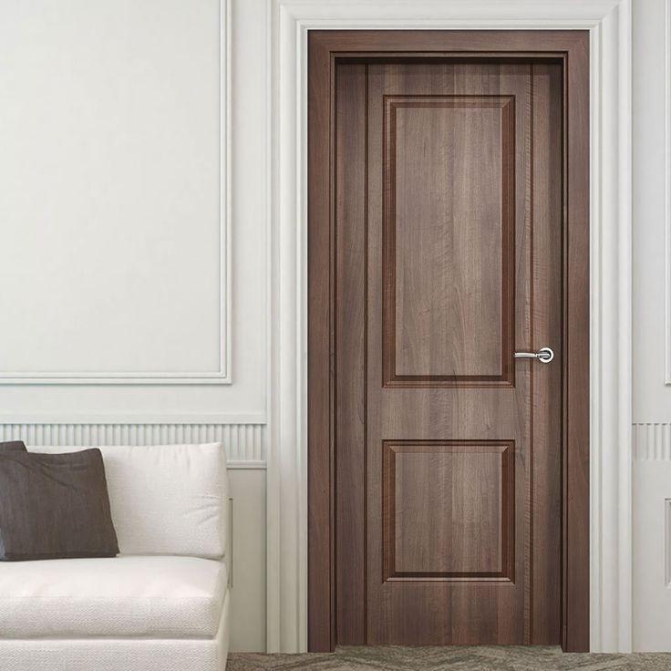 Valletta 2 Panel Dark Amati Composite Fire Doorset with 110mm Broad Frame. #compositefiredoor #internalfiredoor #internalcompositedoor