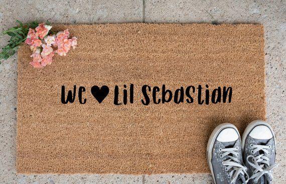 We Love Lil Sebastian Doormat Parks And Rec Doormat Custom Welcome Mat Quotes Door Mat Lil Sebastian Door Mat Hand Painted