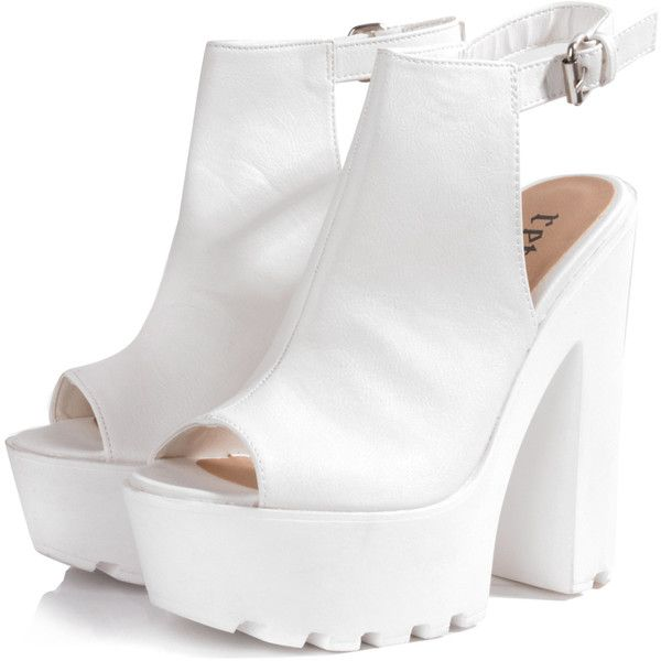 White Cleated Sole Ankle Strap Platform Heels (410 HKD) ❤ liked on Polyvore featuring shoes, sandals, heels, boots, high heels, white, white ankle strap sandals, white sandals, white shoes and platform heel sandals