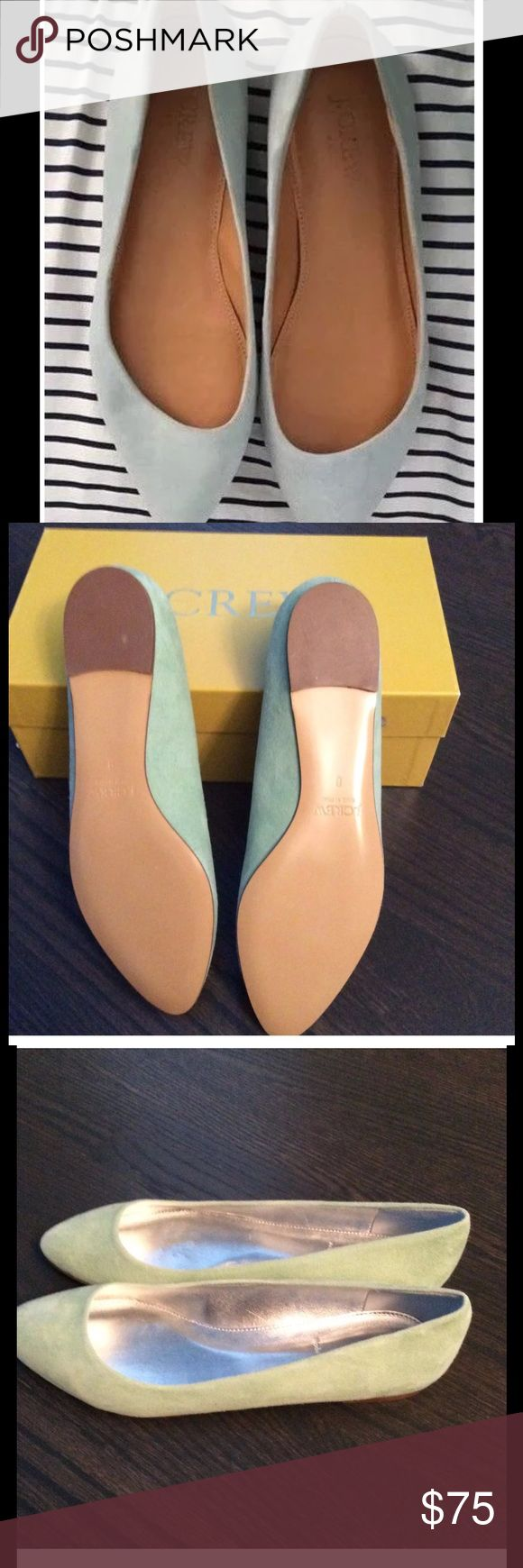 "NIB J. Crew CORALLE Suede Ballet Flats Shoes Gorgeous Light Eucalyptus green. A classic ballet flat with a pointed toe. Suede upper, padded insole. 1/8"" heel. Style #11701. J. Crew Shoes Flats & Loafers"