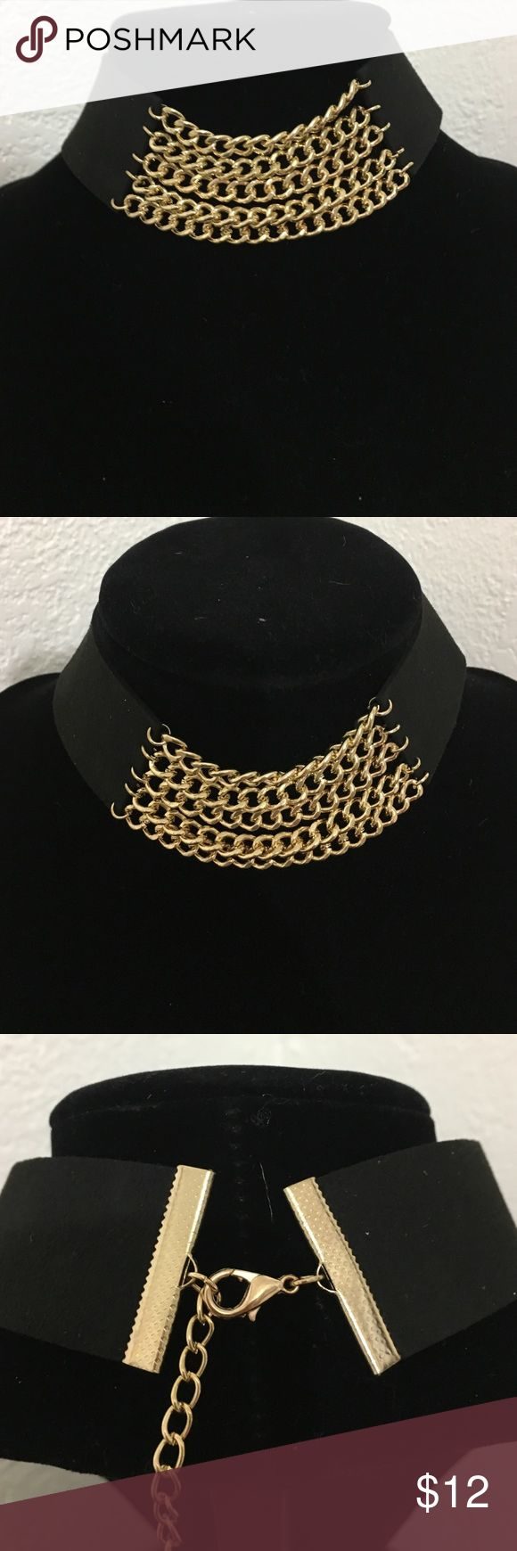 "Gold Chain Black Suede Choker! Sexy gold chain Choker! 12"" long 1.3"" thick Gold chain 2.5"" long Jewelry Necklaces"