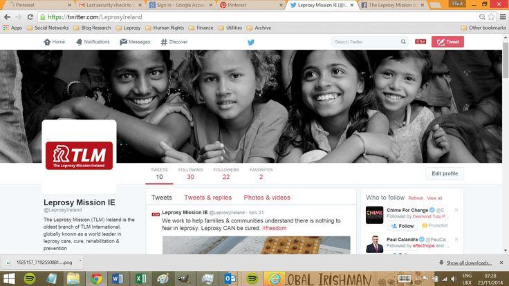 Please follow us on Twitter - https://twitter.com/LeprosyIreland  We apppreciate every follow! :)