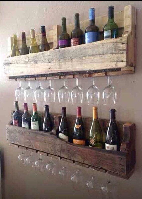 Casier à vin rustique bois fabriqué à partir de palettes recyclées de récupération 100cm