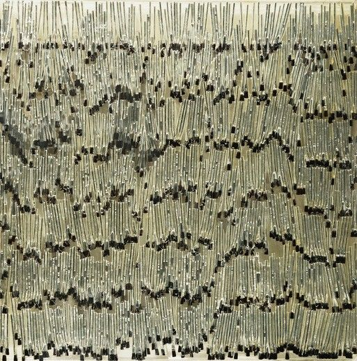 Crusaders. Arman (Armand Fernandez) (1928-2005). Silver glue brushes in polyester and plexiglass. Dated 1968. 122 x 122cm.