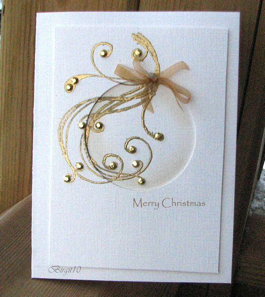 By Birgit Edblom (Biggan at Splitcoaststampers). Negative circle die-cut linen panel attached to card base. Spong inside circle near the edges. Stamp a swirl & heat emboss it with gold. Add gold rhinestones & a bow. What a great idea!
