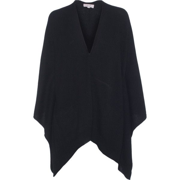 Rosa von Schmaus Over Soft Push Black // Wool cashmere poncho (€339) ❤ liked on Polyvore featuring outerwear, black wool poncho, cashmere poncho, wool poncho, black poncho and black cashmere poncho