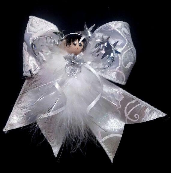 Sylvie - Angel Ornament- Shimmery White Angel - Feather Angel Ornament - Handmade Angel - Victorian Angel Ornament, Gift Topper, Gift Wrap