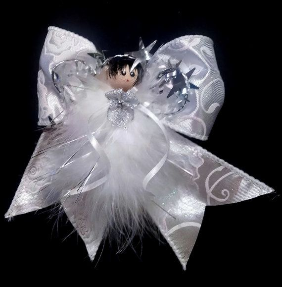 Sylvie - Angel Ornament- Shimmery White Angel - Feather Angel Ornament - Handmade Angel - Victorian Angel Ornament, Gift Topper, Gift Wrap