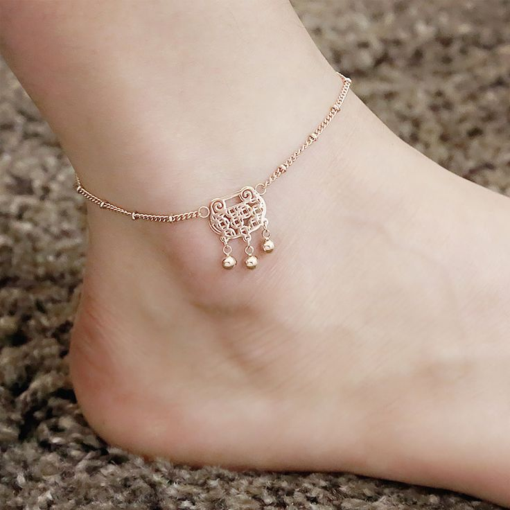 925 Sterling Silver Anklets with Lucky Bell Adjustable Length Women Girl Anklet Sexy Foot Chain Bracelet P5SyK2OVfN