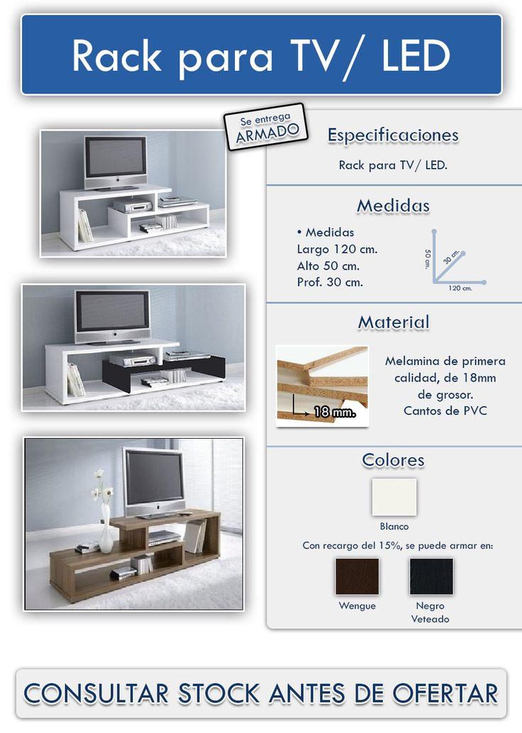 Mesa Para Tv Led - Rack - Mueble Melamina Moderno - $ 896,00