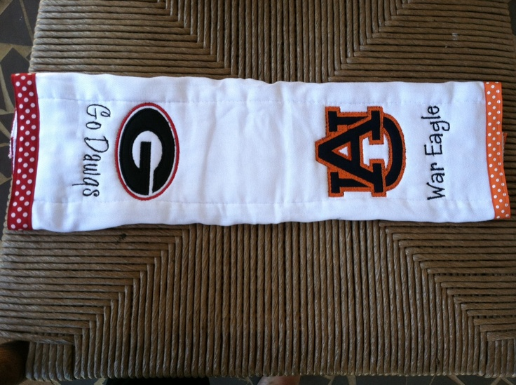 Baby Burp Cloth With Funny Expression Saying: House Divided - Georgia And Auburn Burp Cloth
