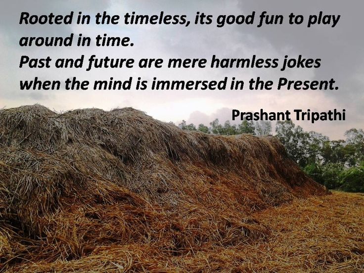 Rooted in the timeless, its good fun to play around in time. Past and future are mere harmless jokes when the mind is immersed in the Present. ~ Prashant Tripathi  #ShriPrashant #Advait #Past #Future  Read at:- prashantadvait.com Watch at:- www.youtube.com/c/ShriPrashant Website:- www.advait.org.in Facebook:- www.facebook.com/prashant.advait LinkedIn:- www.linkedin.com/in/prashantadvait Twitter:- https://twitter.com/Prashant_Advait