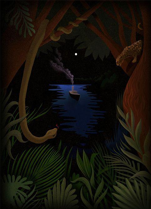 Heart of Darkness, Joseph, Conrad, masterpiece, literature, book, cover, jungle, animal, wild, horror, apocalypsenow, boat, river, classic, novel, animals, free, dark, darkness, illustration, digital