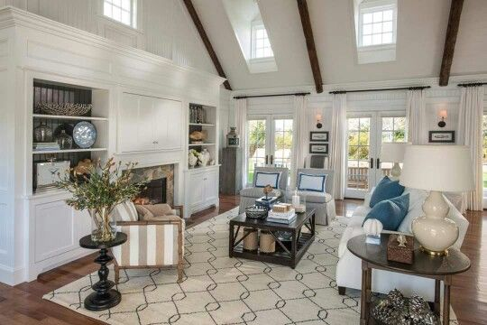 Large white living room beams