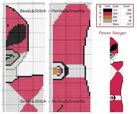 Power ranger rosa segnalibro puntocroce