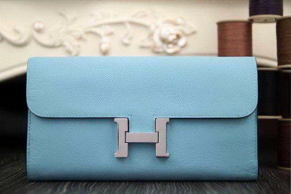 Hermes Constance Long Wallets Original Leather HA909 SkyBlue