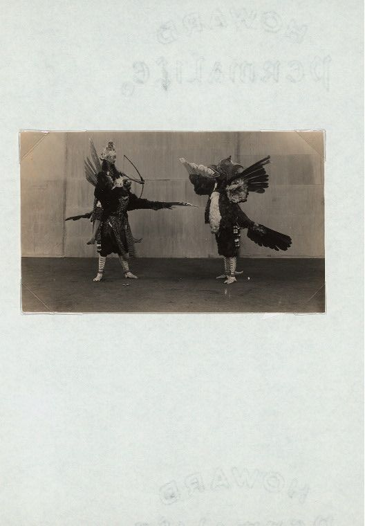 "Java - Wayang Wong, Kraton Yogyakarta, 1930s : Rama Nitik. [This photo was published in B.P.H. Surjobrongto, The Classical Yogyanese dance (1970), p. 23, with the caption ""Fight between Prabu Setedja, seated on the legendary bird Garudha Wilmuna and the legendary bird Garudha Brihawan. A scene from the Rama Nitik story performend in 1934.""]"