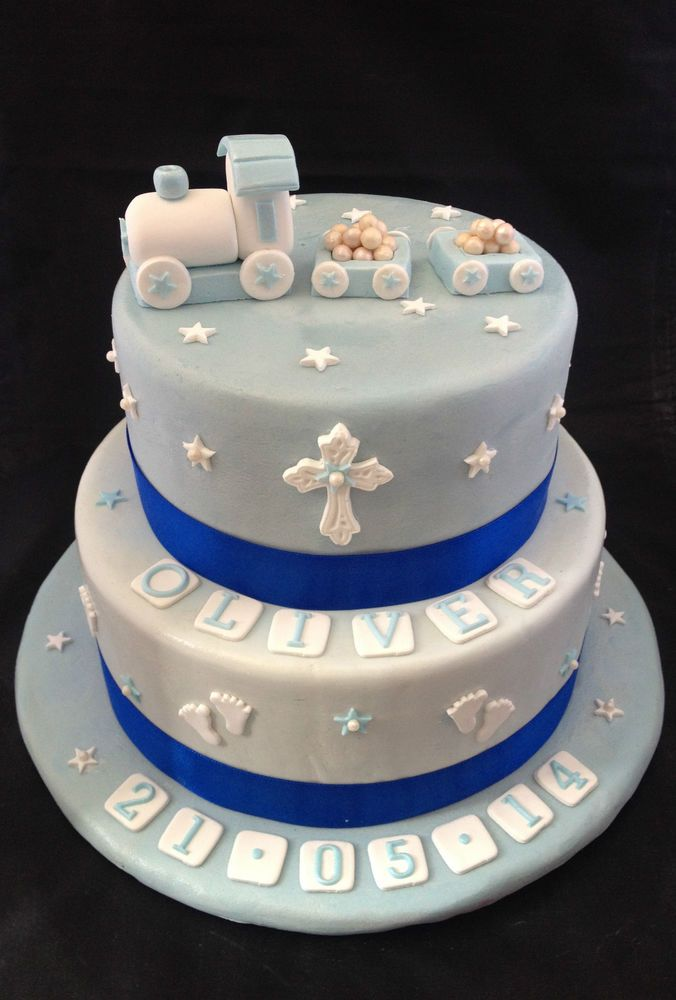 Baby Boy Christening Train Stars Cake Set Edible Decoration Personalised Toppers in Crafts, Cake Decorating | eBay